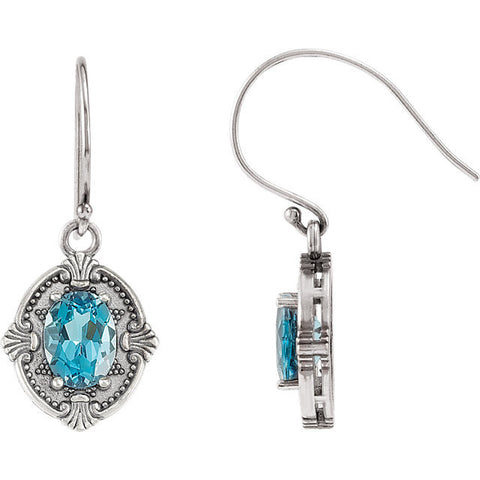 Victorian Style Genuine Blue Topaz French Wire Earrings - Cailin's