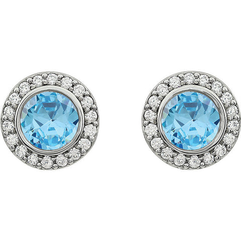 Sterling Silver CZ Halo Post Earrings - Cailin's