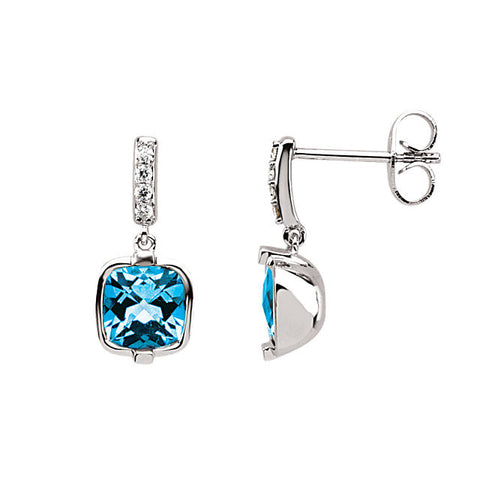 14K White Gold Blue Topaz Diamond Post Earrings - Cailin's