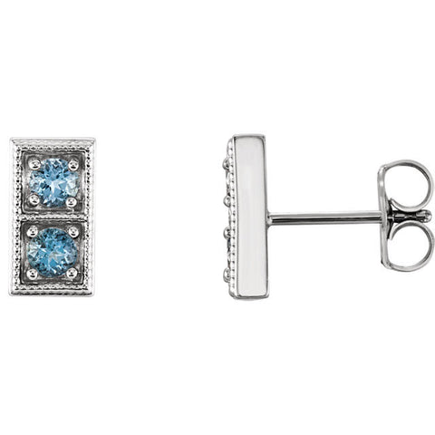 Two Stone Aquamarine Earrings - Cailins | Fine Jewelry + Gifts