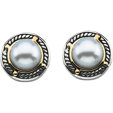 Two Tone Freshwater Pearl Post Earrings - Cailin's