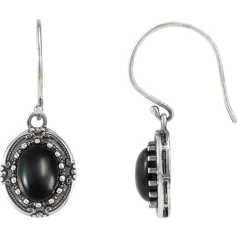 Sterling Silver Victorian Genuine Black Onyx Earrings - Cailin's