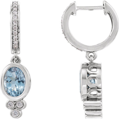 14K Gold Aquamarine Diamond Earrings - Cailin's