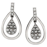 14K White Gold 1/4 CTW diamond Cluster Earrings - Cailin's