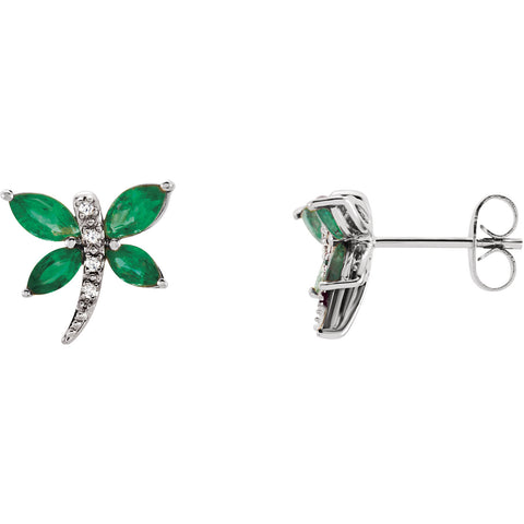 14K White Gold dragonfly Gem diamond Earrings - Cailin's