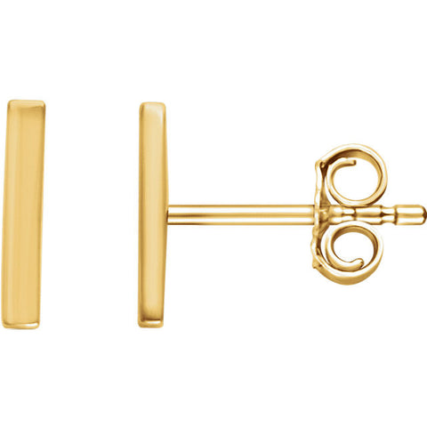 14K Gold Classic Vertical Bar Post Earrings - Cailin's