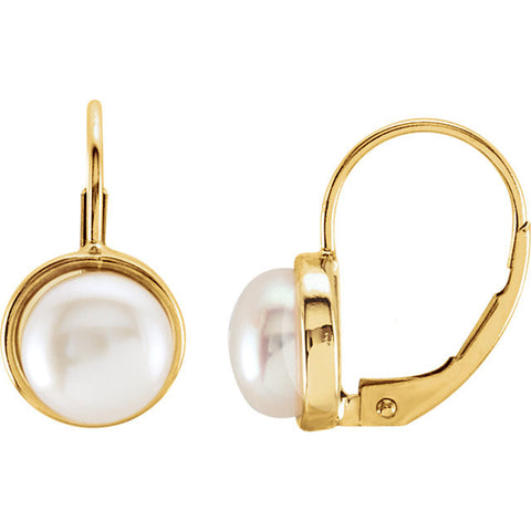 14K Yellow Gold White Freshwater Pearl Leverback Earrings - Cailin's