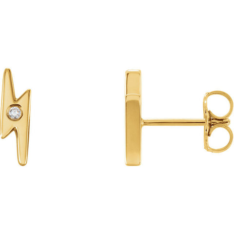 Lightning Bolt diamond Accent Post Earrings - Cailin's