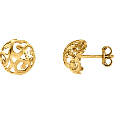 14K Gold Scroll Swirl Earrings - Cailin's