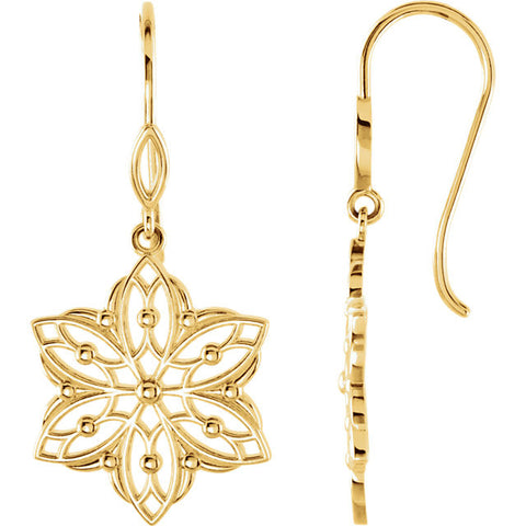 14K Gold Special Star Flower French Wire Earrings - Cailin's