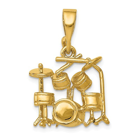 14K Yellow Gold drum Set Music Necklace Charm - Cailin's