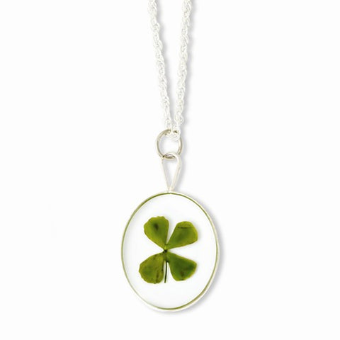 Sterling Silver Real Lucky Four Leaf Clover Shamrock Necklace