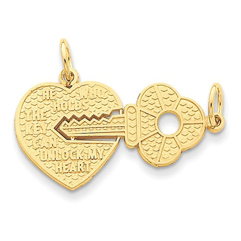 14K Yellow Gold Love Lock With Key Necklace Charm - Cailin's