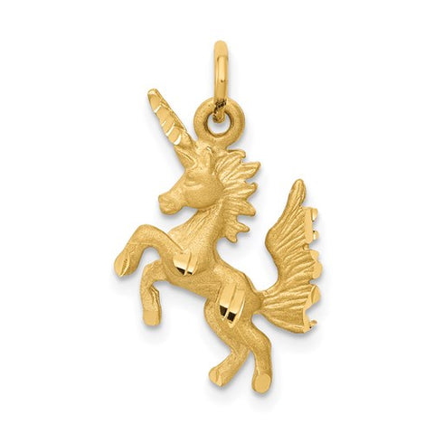 14K Yellow Gold Happy Unicorn Necklace Charm - Cailin's