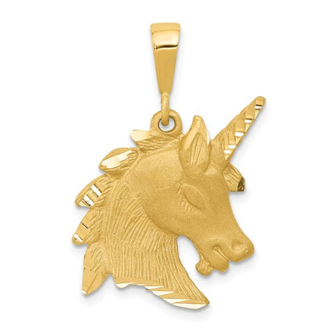 14K Yellow Gold Unicorn Head Necklace Charm - Cailin's