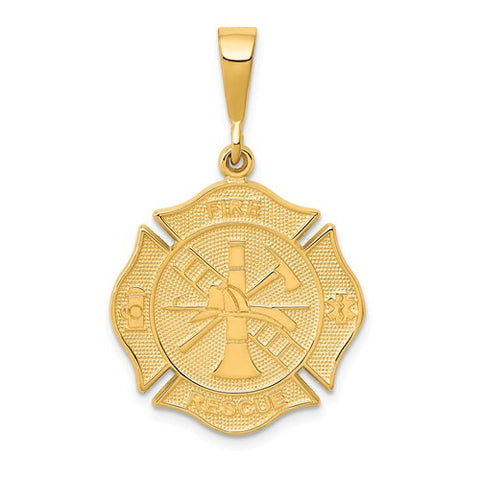 14K Yellow Gold Firefighter Necklace Charm - Cailin's