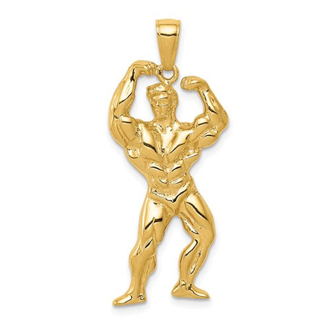 14K Yellow Gold Weightlifter Necklace Charm - Cailin's