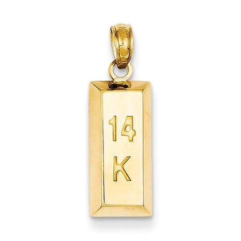 14K Yellow Gold 14K Gold Bar Necklace Charm - Cailin's