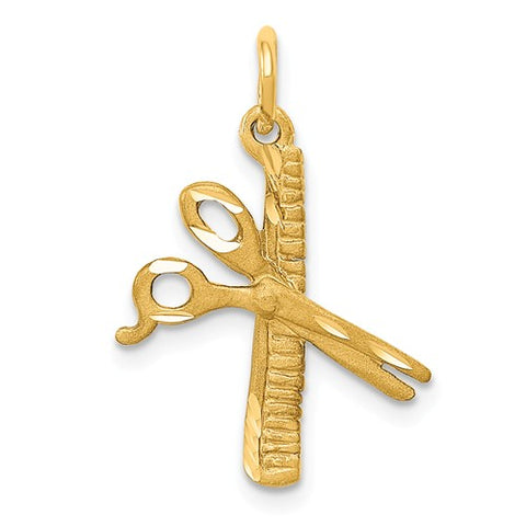 14K Yellow Gold Scissors Comb Haircut Necklace Charms - Cailin's