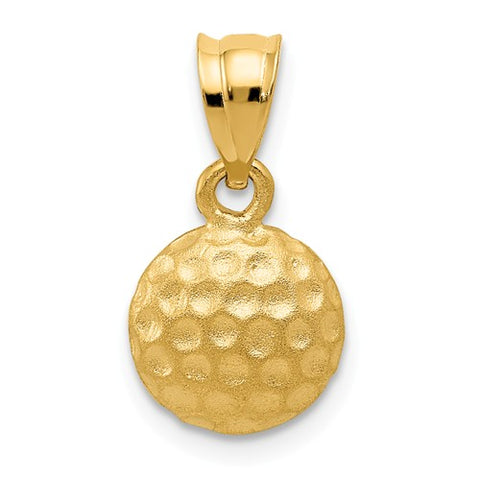 14K Yellow Gold Golf Ball Necklace Charm - Cailin's