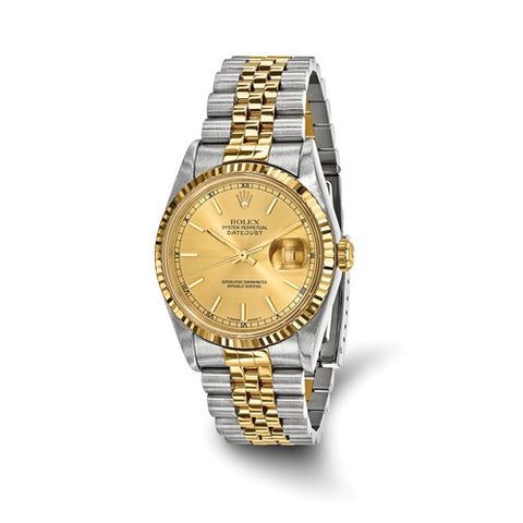 18KY Gold Steel Preown Champagne Rolex Watch - Cailin's