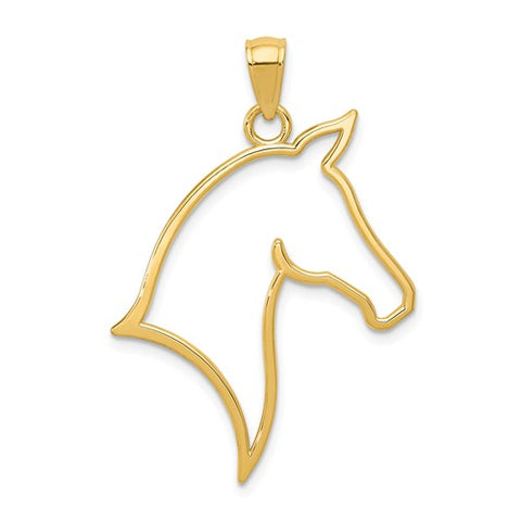 14K Yellow Gold Horse Head Outline Necklace Charm - Cailin's