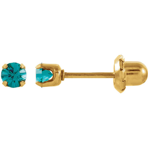 14K Yellow Gold Youth Solitare Faux Birthstone Earrings - Cailin's