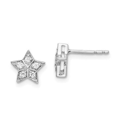 14K White Gold White Star diamond Post Earrings - Cailin's