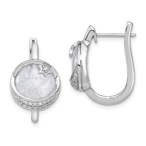 14K White Gold Moonstone diamond Stars Earrings - Cailin's
