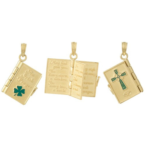 14K Yellow Gold St Patrick's Irish Prayer Book Celtic Necklace Charm - Cailin's