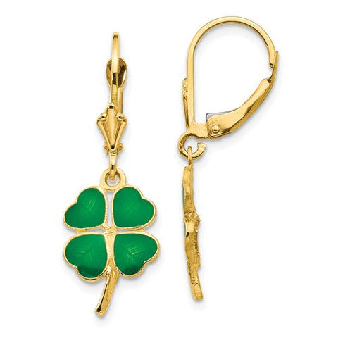 14K Yellow Gold Lucky Shamrock 4 Leaf Clover Leverback Earrings - Cailin's