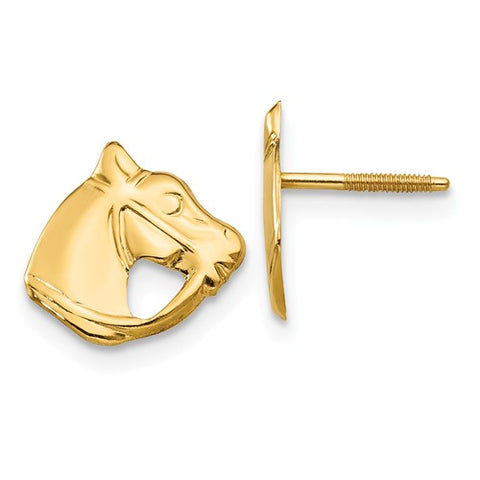 14K Yellow Gold Haute Horse Head Screwback Earrings - Cailin's