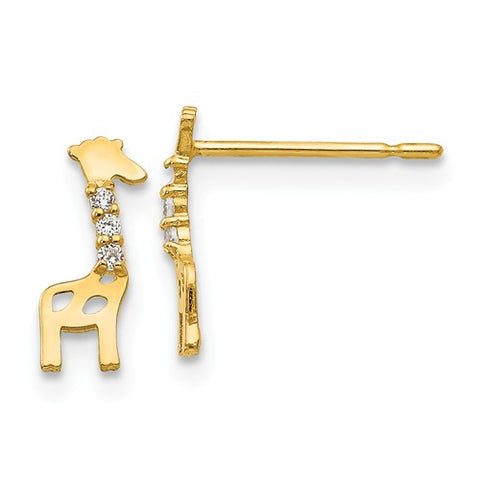 14K Yellow Gold Giraffe CZ Post Earrings - Cailin's