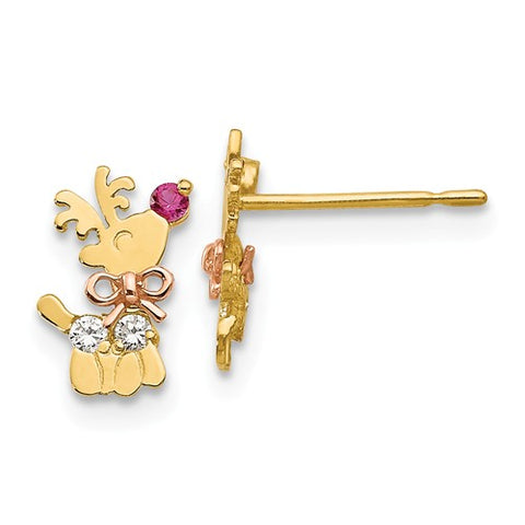 14K Yellow Rose Gold Rudolph Reindeer Christmas Earrings - Cailin's