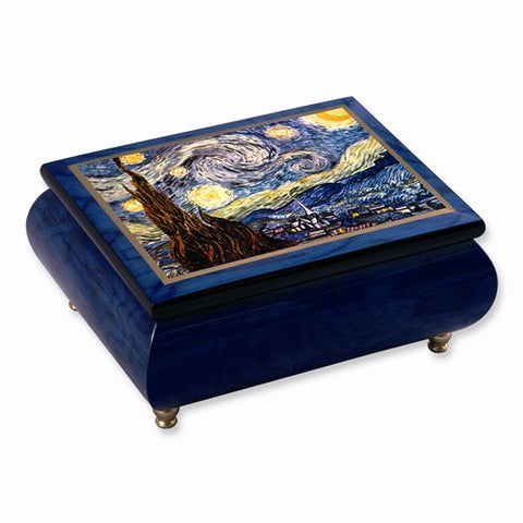 Vincent Van Gogh Velvet Starry Night Music Jewelry Box