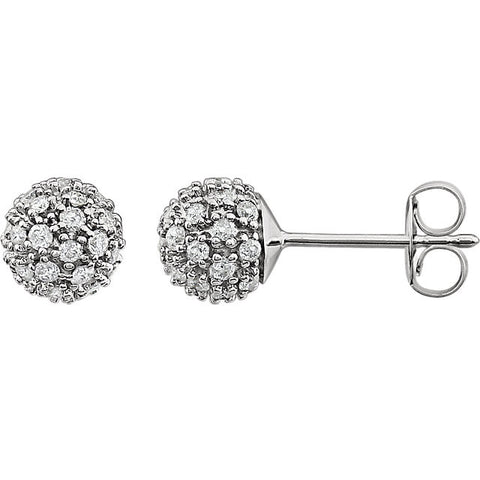 14K White Gold Gorgeous diamond Cluster Ball Earrings - Cailin's