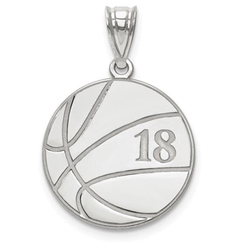 925 Sterling Silver Custom Basketball Charm - Cailin's