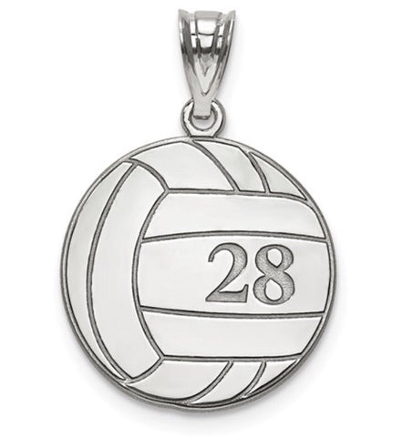 925 Sterling Silver Custom Volleyball Charm - Cailin's