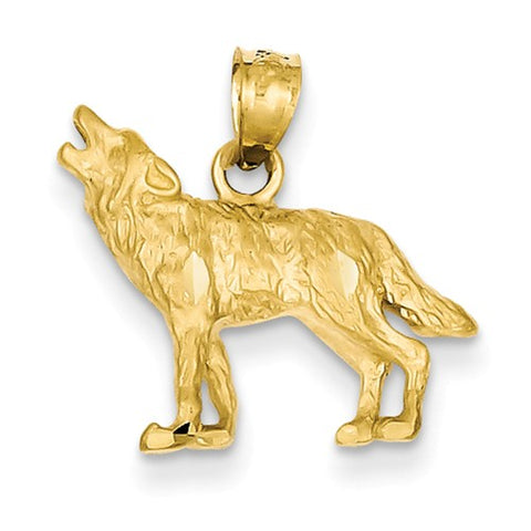 14K Yellow Gold Howling Wolf Necklace Charm - Cailin's
