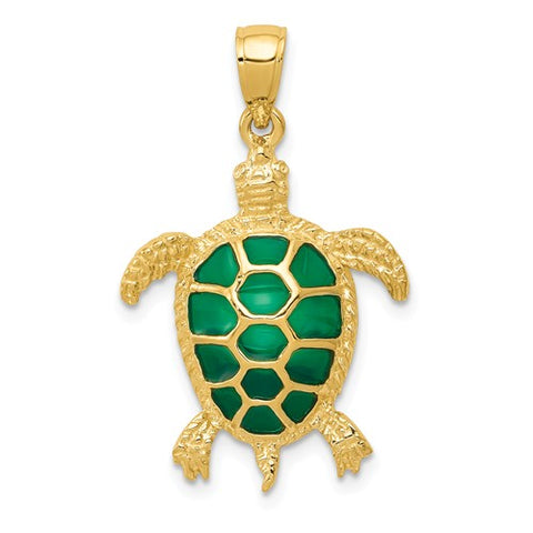 14K Yellow Gold Gorgeous Green Turtle Necklace Charm - Cailin's