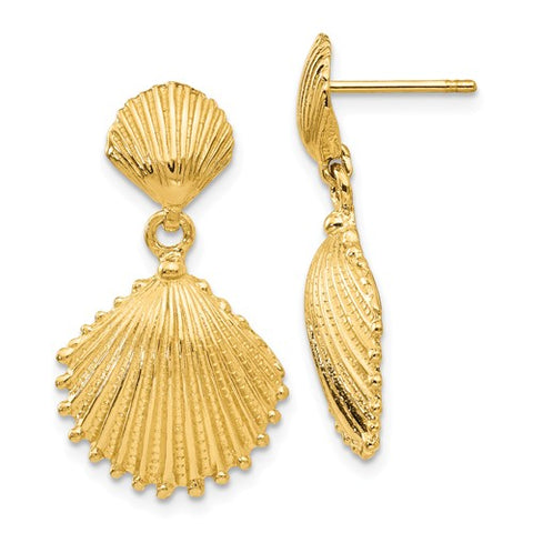 14K Yellow Gold Scallop Seashell Earrings - Cailin's