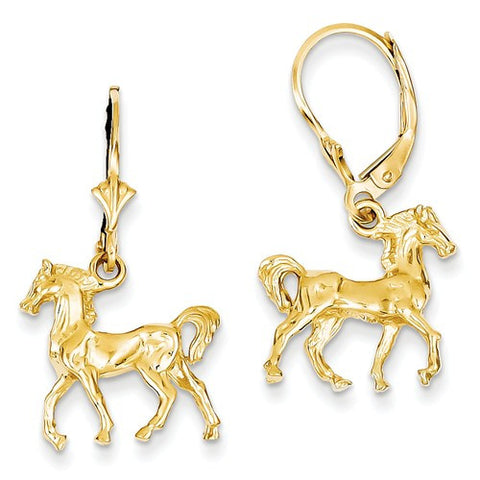14K Gold Stallion Horse Leaverback Earrings - Cailin's