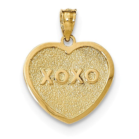 14K Yellow Gold My Love XOXO Reversible Heart Necklace Charm - Cailin's