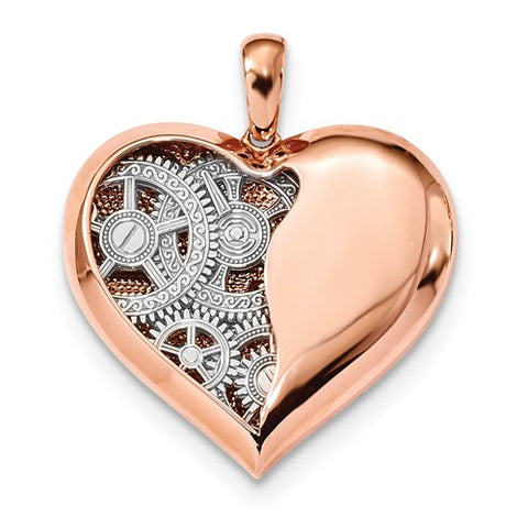 14K Rose Gold True Heart With White Gold Gears Necklace Charm - Cailin's