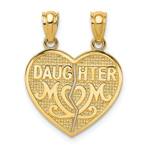 14K Yellow Gold Mother daughter Break Apart Heart Necklace Charm - Cailin's