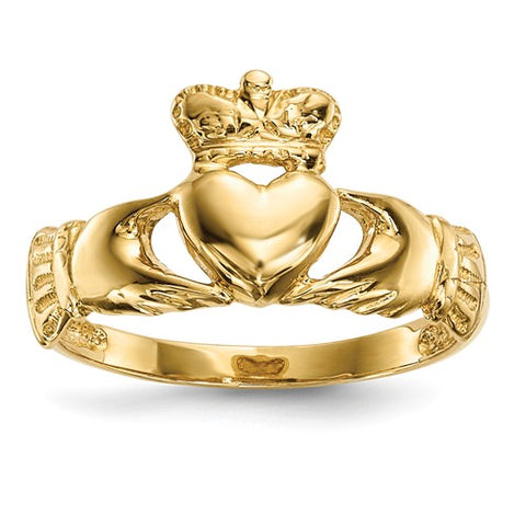 14K Yellow Gold Irish Claddagh Celtic Ring - Cailin's
