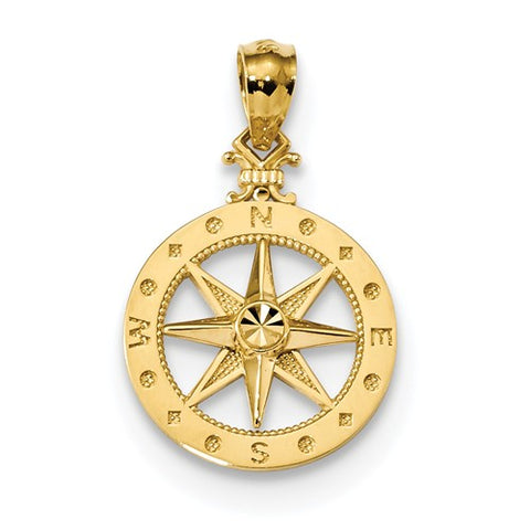 14K Yellow Gold diamond cut Compass Necklace Charm - Cailin's