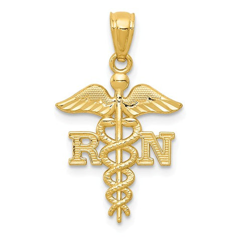 14K Yellow Gold RN Nurse Staff Necklace Charm - Cailin's