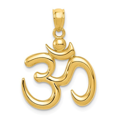 14K Yellow Gold Om Symbol Necklace Charm - Cailin's