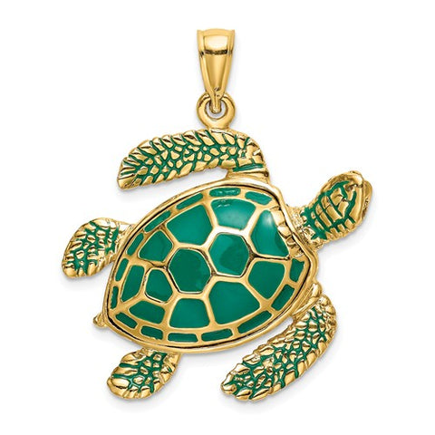 14K Yellow Gold Sensational Sea Turtle Necklace Charm - Cailin's